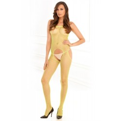Industrial Net Suspender Bodystocking  - One Size - Lime