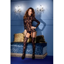 Long Sleeve Suspender  Bodystocking Set - One Size