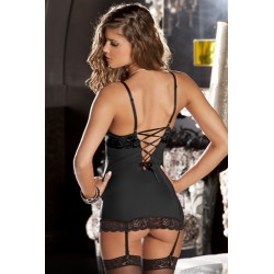 2 Piece Lace and Mesh Hollywood Chemise and G-String - Medium/ Large - Black