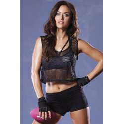 Strike Athletic Fishnet Crop Tank - One Size - Black