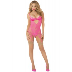 Galloon Lace &amp Fishnet Chemise With Thong  - One Size - Pink