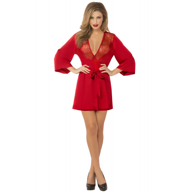 Satin &amp Eyelash Robe - One Size - Red