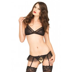2 Pc Lace Bralette &amp Crotchless Garter Panty  - One Size - Black