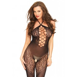 Halter Bodystocking With Net Center Panel - One  Size
