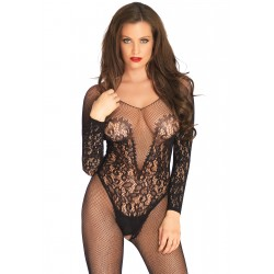Vine Lace &amp Net Long Sleeved Bodystocking - One Size - Black
