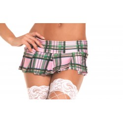 Pink Plaid Pleated Mini Skirt - Medium/ Large
