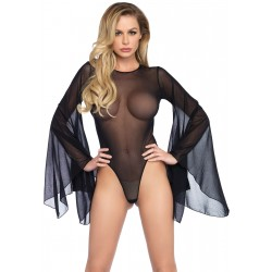 Mesh Bell Sleeve Thong Back Bodysuit - Small/  Medium - Black