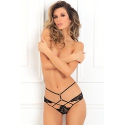 Own It Crotchless Panty - Medium/ Large -  Black