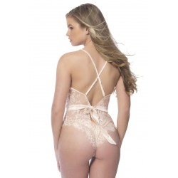 Soft Lace Bodysuit With Satin Trims - Small - Silver Peony