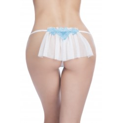Bridal Thong With Embroidered Applique and Veil Back - Large/extra Large - White