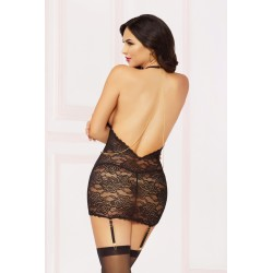 Lace &amp Chain Chemise With Thong Set - One Size -  Black