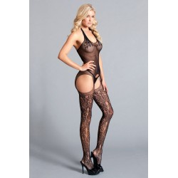 Halter Suspender Bodystocking W / Lace Detail  Thigh Highs - One Size - Black