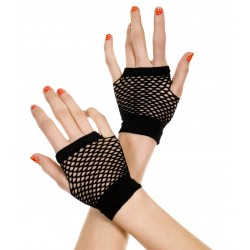 Thick Diamond Net Gloves - Black