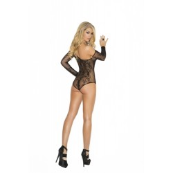 Floral Fishnet Teddy and Gloves - One Size - Black