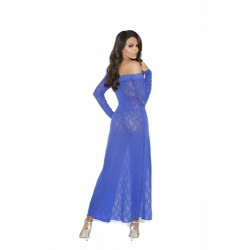 Long Sleeve Lace Gown - One Size - Blue