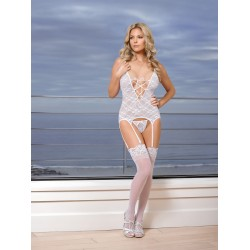 Pure Bliss Merry Widow &amp G-String Set - White - Large / Extra Large