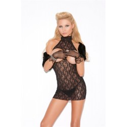 Cupless Lace Dress - One Size - Black