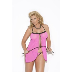 Baby Doll and G-String Set - Queen Size - Pink