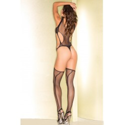 Sheer Suspender Bodystocking With Cutout Front  and Sides - One Size - Black