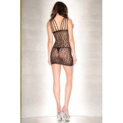 Leopard Print Minidress With Keyhole Front and  Multiple Shoulder Straps - One Size - Black