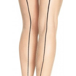 Spandex Fishnet Tights With Cantrast Backseam - One Size - Nude/black
