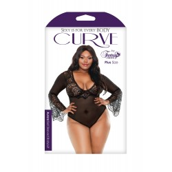 Aurora Bell Sleeved Bodysuit - Black - 3x/4x