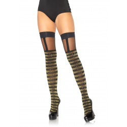 Lurex Opaque Striped Thigh Highs With Sheer Garter Top - One Size - Black/gold