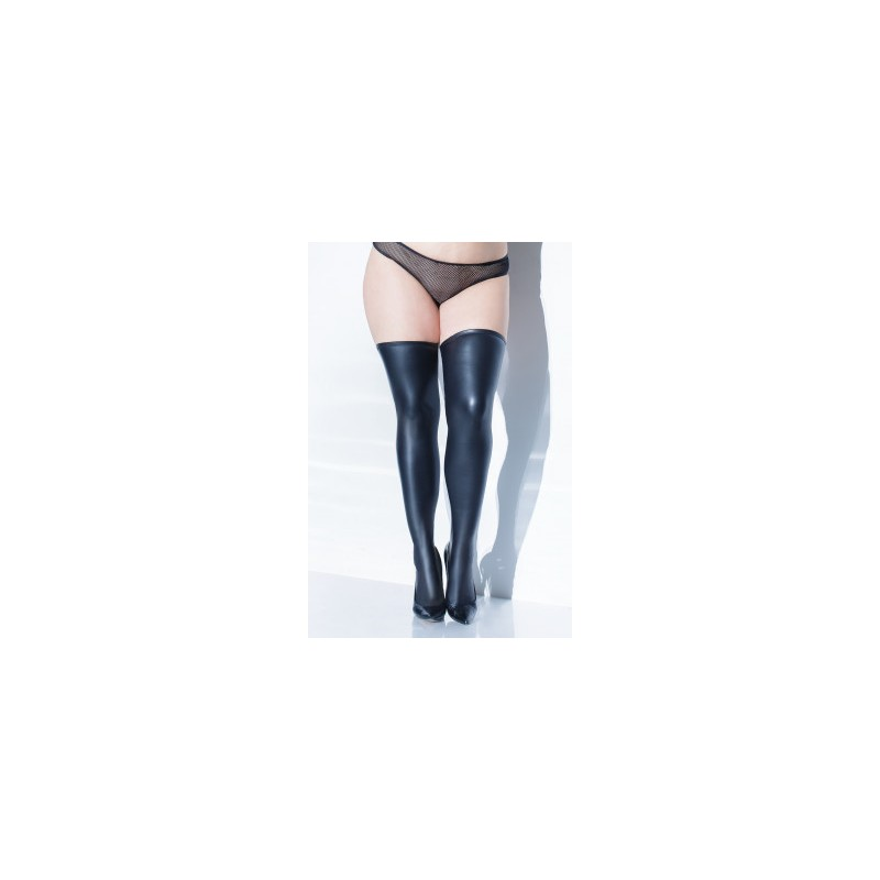 Wet Look Stocking - Black - One Size 90-160 LBS