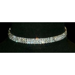 3 Row Stretch Rhinestone Necklace - Clear Crystal Silver