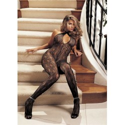 Swirl Lace Body Stocking - One Size  - Black