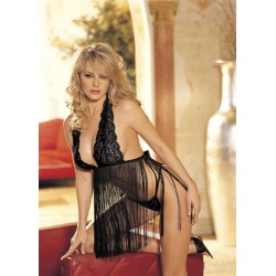 Stretch Lace &amp Fringe Babydoll - One Size -  Black