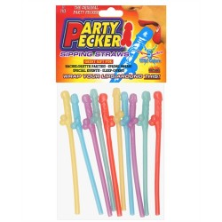 Party Pecker Sipping Straws 10 Pc Bag - 5 Assorted Colors