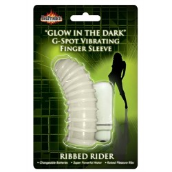 Glow in the Dark Vibrating Ribbed Rider  Finger Sleeve