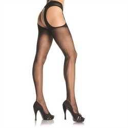 Sheer Suspender Hose - Queen Size - Black