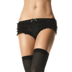 Lace Ruffle Tanga Shorts - One Size - Black