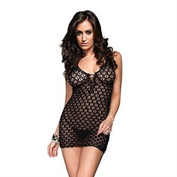 Lace Mini Dress and G-String - One Size - Black