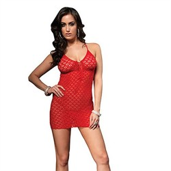 Lace Mini Dress and G-String - One Size - Red