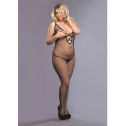Seamless Fishnet Bodystocking - Queen Size  - Black