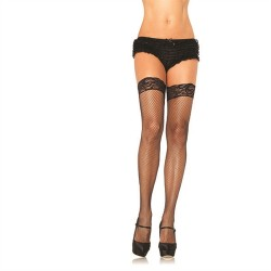 Stay Up Fishnet Lace Top Thigh Highs - Queen Size - Black