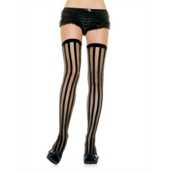 Striped Sheer Stockings - One Size - Black