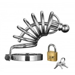 Asylum 6 Ring Locking Chastity Cage  - Medium/large