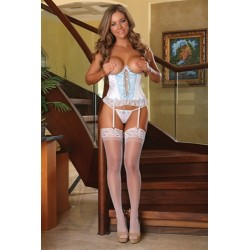 Cupless Corset and G-String  Set - Large - White