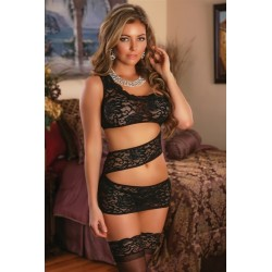 Zigzag Dress and G-String Set 1x-3x - Black