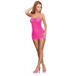 Mesh Tube Dress and G-Set - Neon Pink - One Size