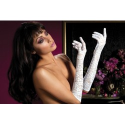 Lace Elbow Gloves - White