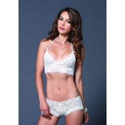 2 Pc. Lace Halter Bra Top With Matching String Booty Short - Small/medium - White