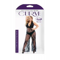 Curve Nicki Stretch Micro &amp Lace Halter Jumpsuit With Panty - Plus Size 3x/4x