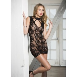 Stretch Lace Chemise With Lace Neckband - Black -  One Size