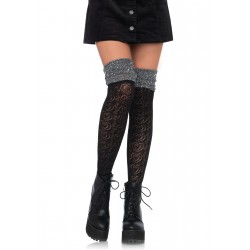 Sweetheart Knit Over the Knee Sock - Black/ Grey