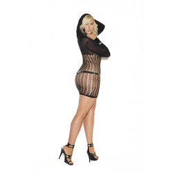 Mini Dress W / Hood - Queen Size - Black